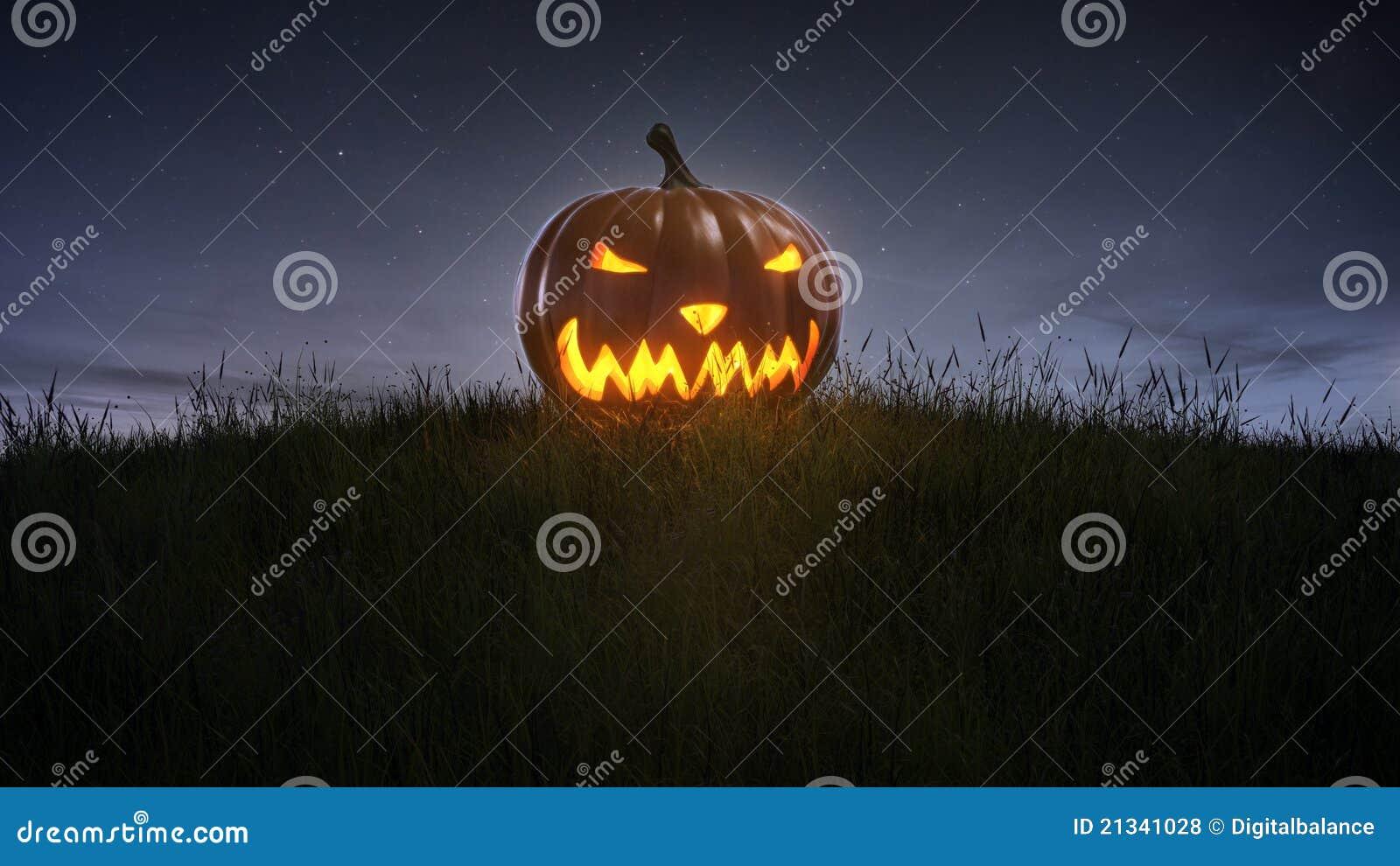 Happy halloween pumpkin on lawn