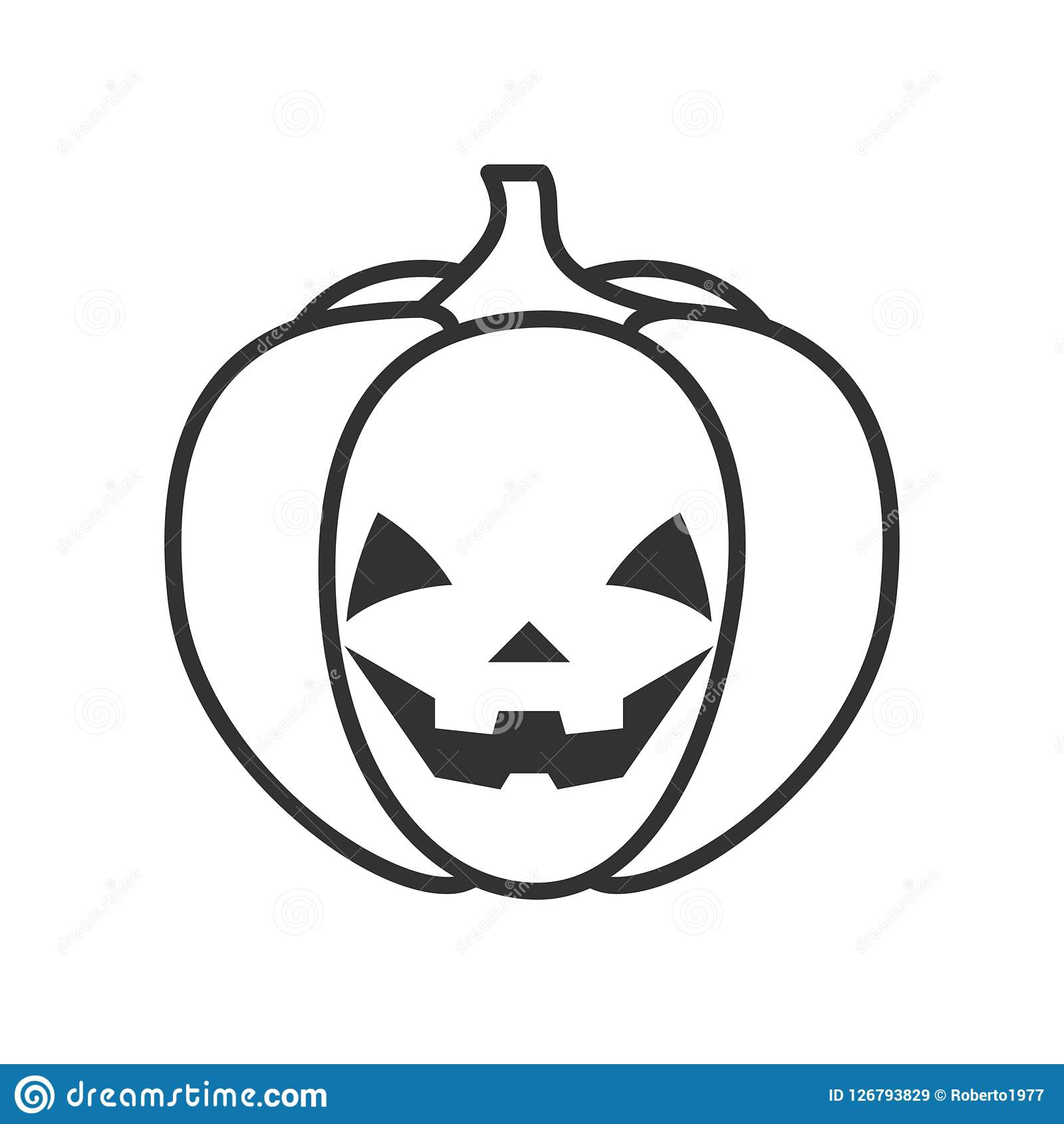 Smiling Halloween Pumpkin Outline Flat Icon Stock Vector