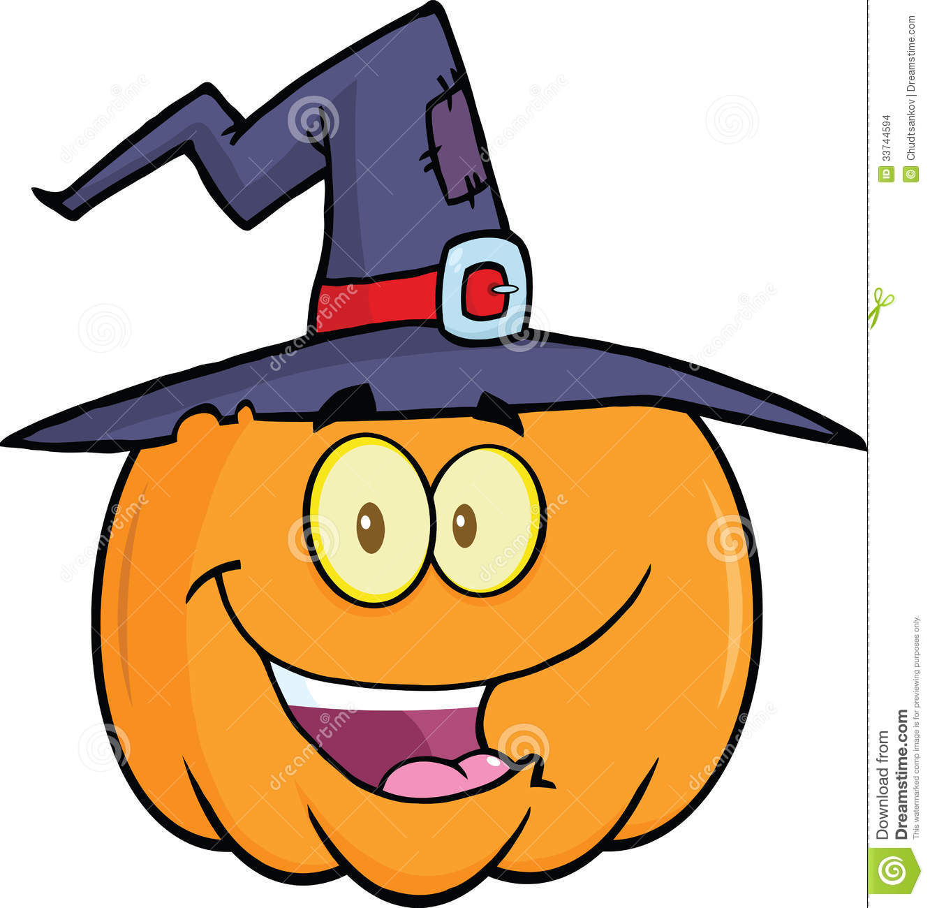 Happy Halloween Pumpkin With A Witch Hat