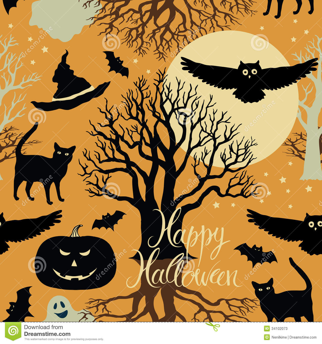 Vector halloween symbols witches pumpkins ghost stock vector happy halloween pumpkins bats and cats black tr stock photos biocorpaavc Choice Image