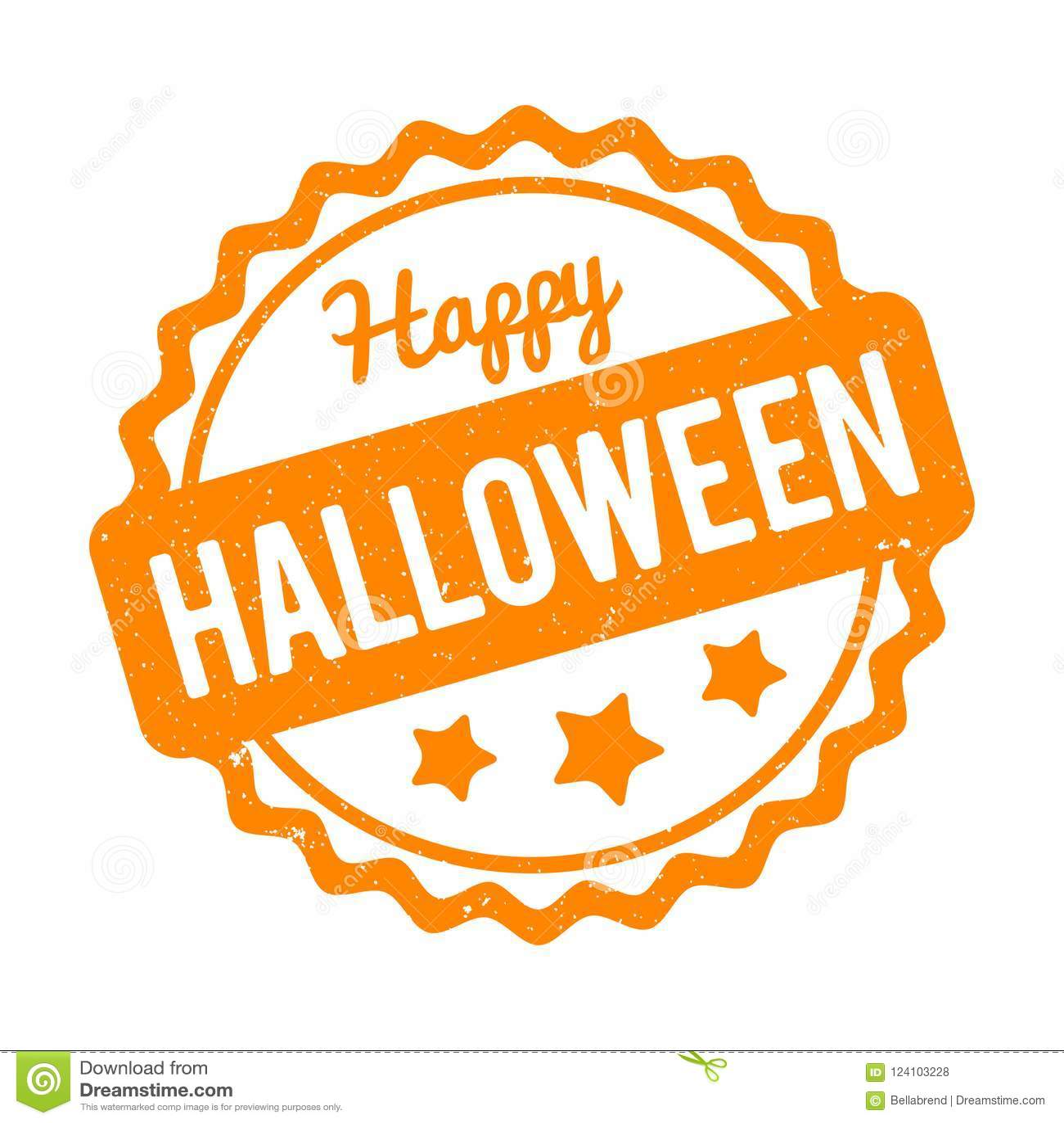 Happy Halloween rubber stamp orange on a white background.