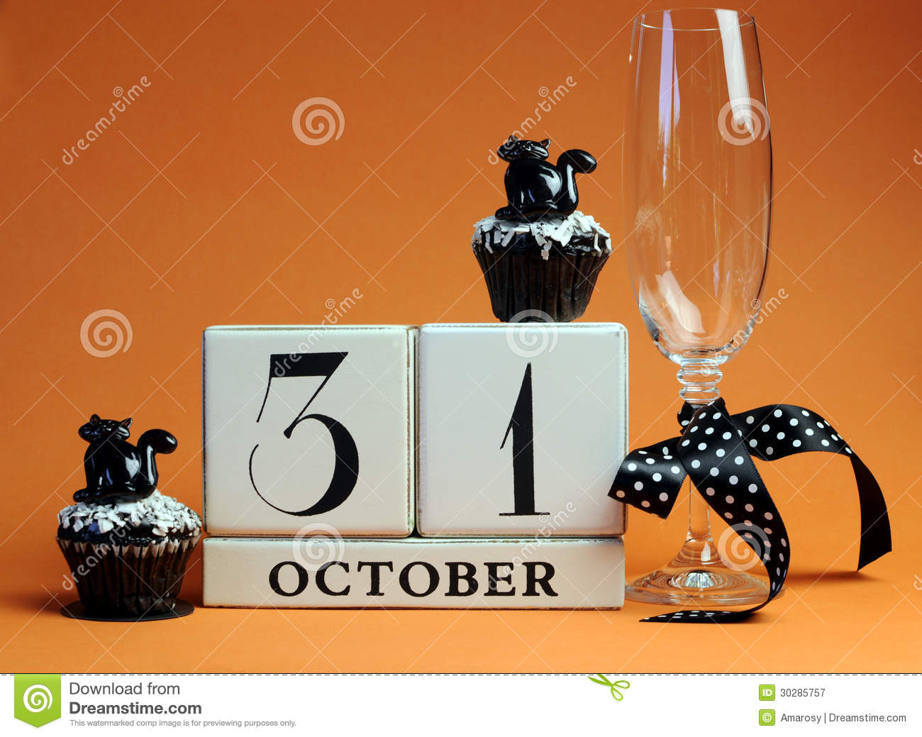 download happy halloween save the date white block calendar with champagne glass and chocolate muffins stock