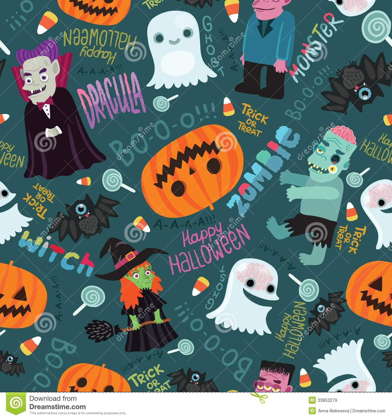 Happy Halloween Seamless Pattern. Stock Vector - Image ...