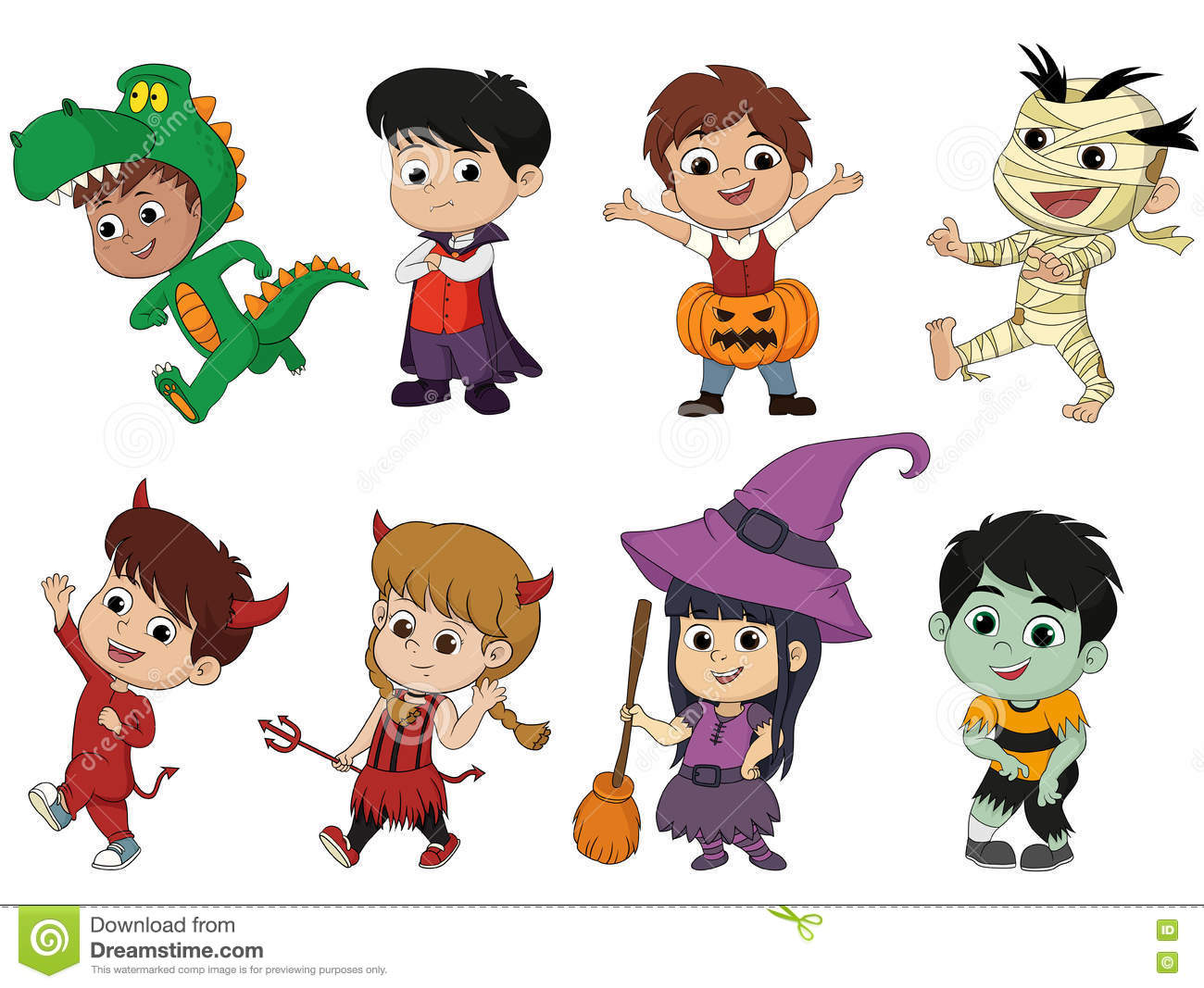 42ff234dd6e8 download happy halloween set of cute cartoon children in colorful hallow stock  vector illustration