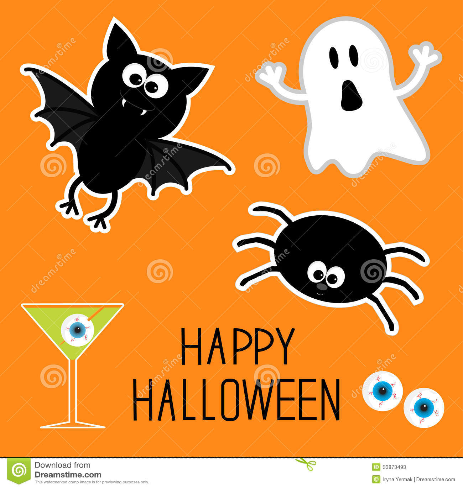 Happy Halloween Set. Ghost, Bat, Spider, Eyes, Martini. Card. Stock Photos - ...