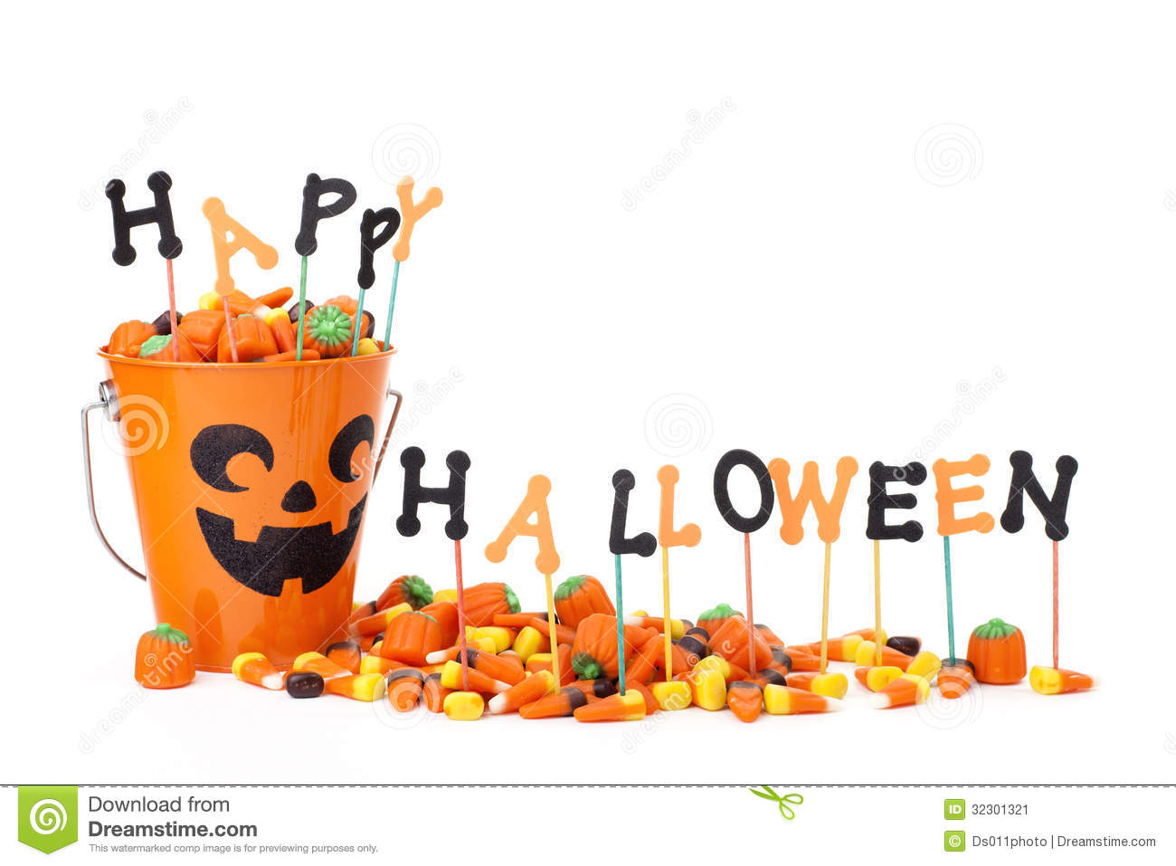 Happy Halloween Sign With Candy & Candy Bucket Stock Image - Image ...