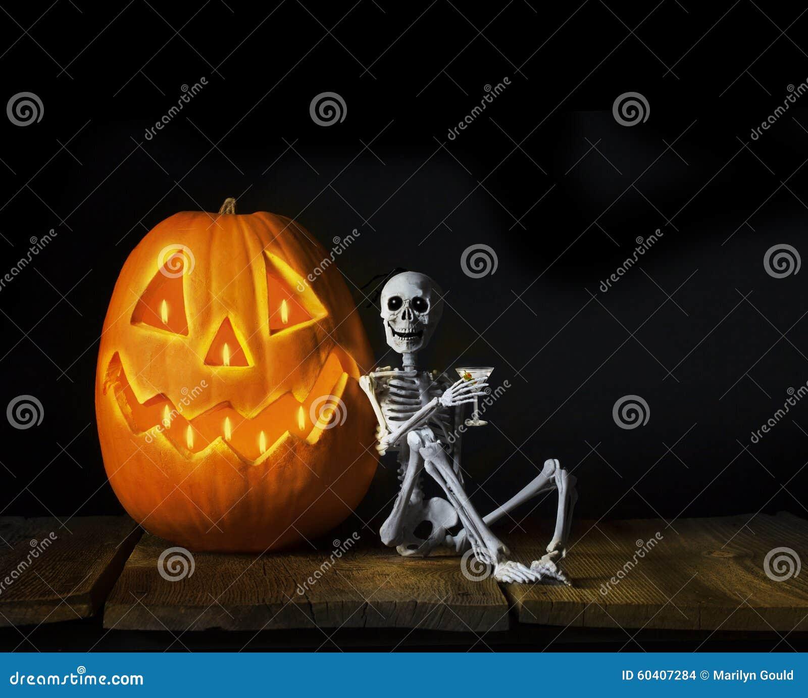 Happy Halloween Skeleton Drinking Martini