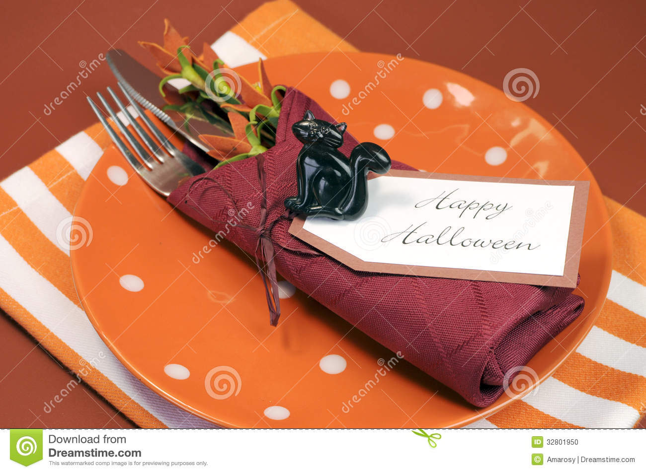 autumn black cat colors dot fall halloween happy napkin orange place plate polka setting - Halloween Place Settings