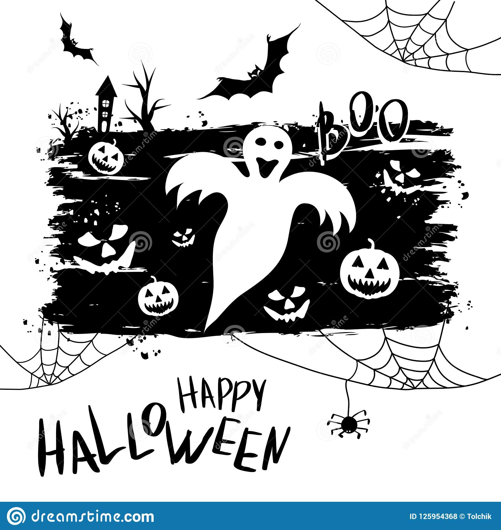 download happy halloween template for banner or poster vector illustrat stock vector illustration of