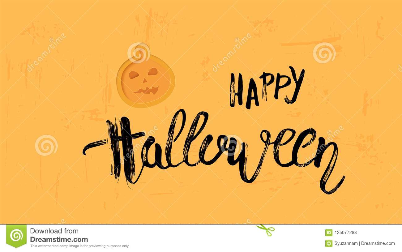 happy halloween template with paper cut shapes vector illustration