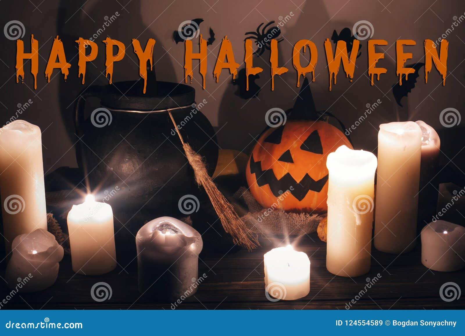 happy halloween text concept. seasons greeting, spooky halloween
