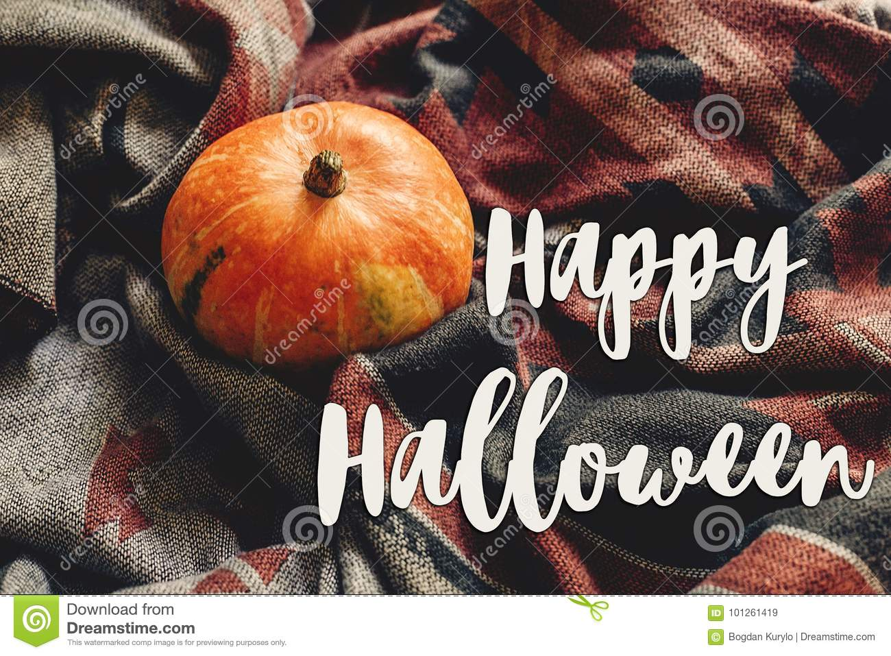 Happy halloween text sign on autumn pumpkin on stylish scarf fab happy halloween text sign on autumn pumpkin on stylish scarf fabric space for text seasonal greetings fall holidays harvest time cozy mood m4hsunfo