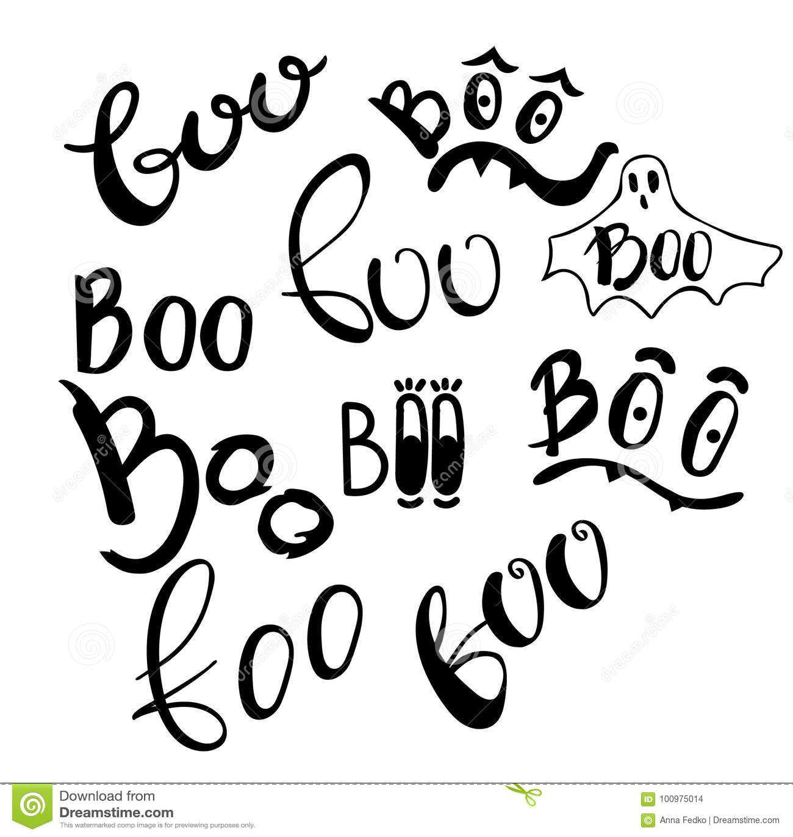 Happy Halloween Vector Design Elements  Boo Set Lettering