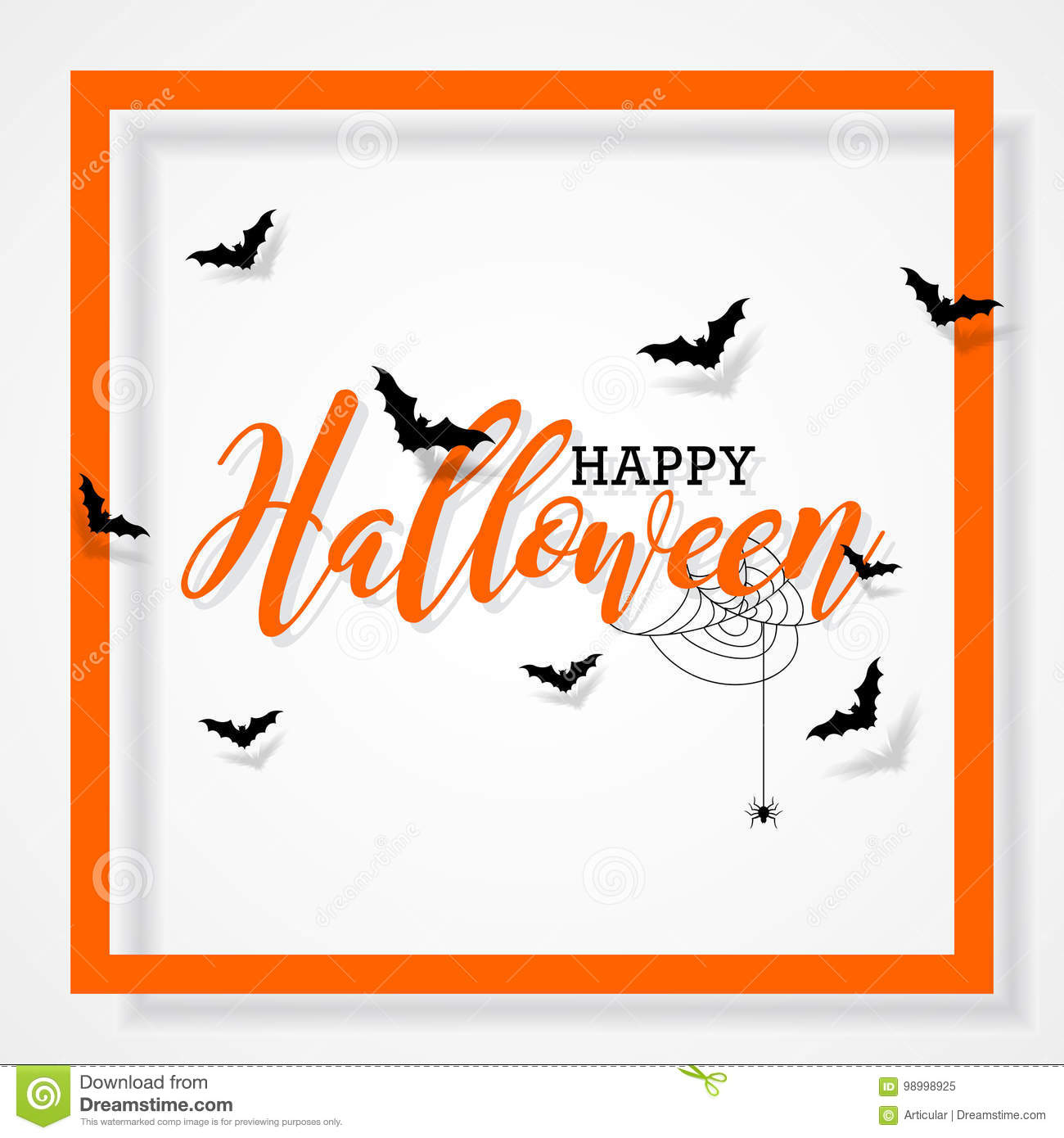 Happy Halloween vector illustration with bats and spider on black background. Holiday design for greting card, poster or party in