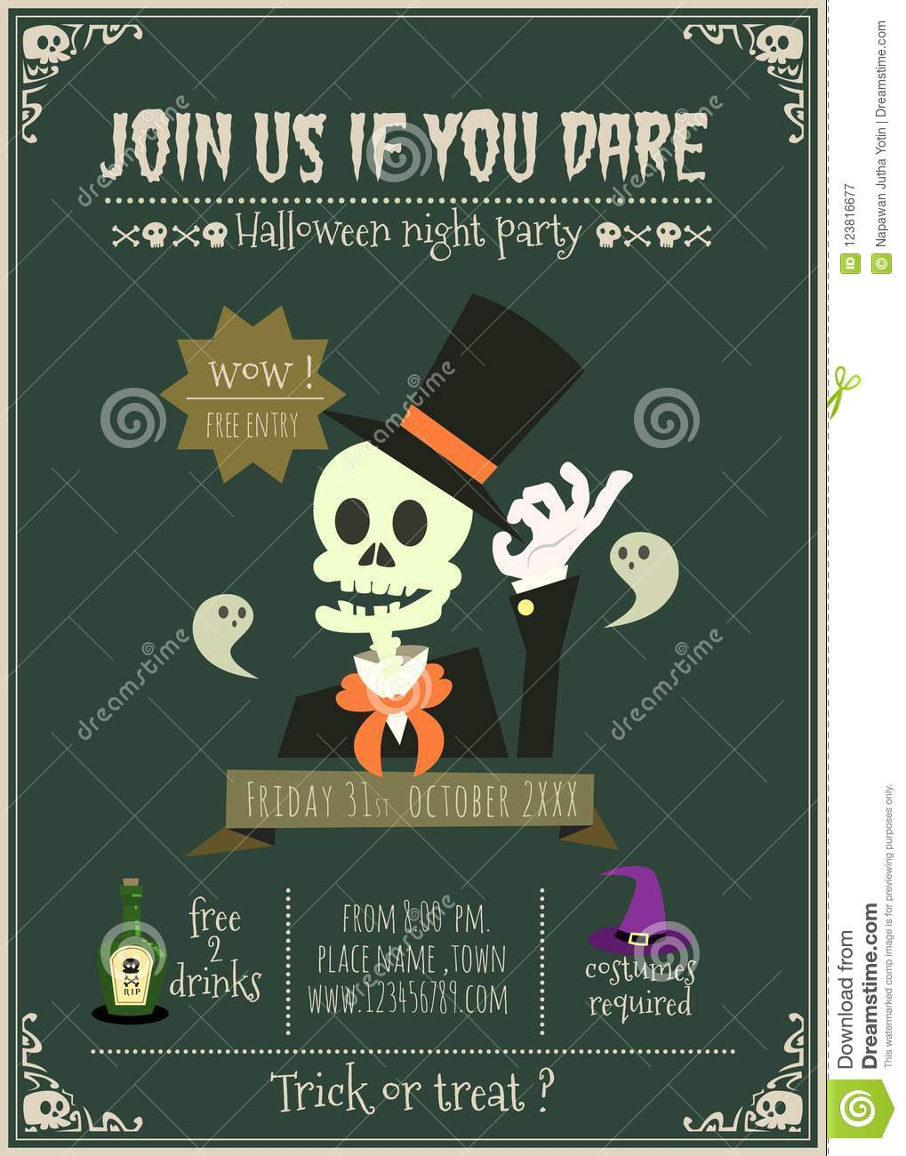 Happy Halloween Vector Invitation Card With Skull Character