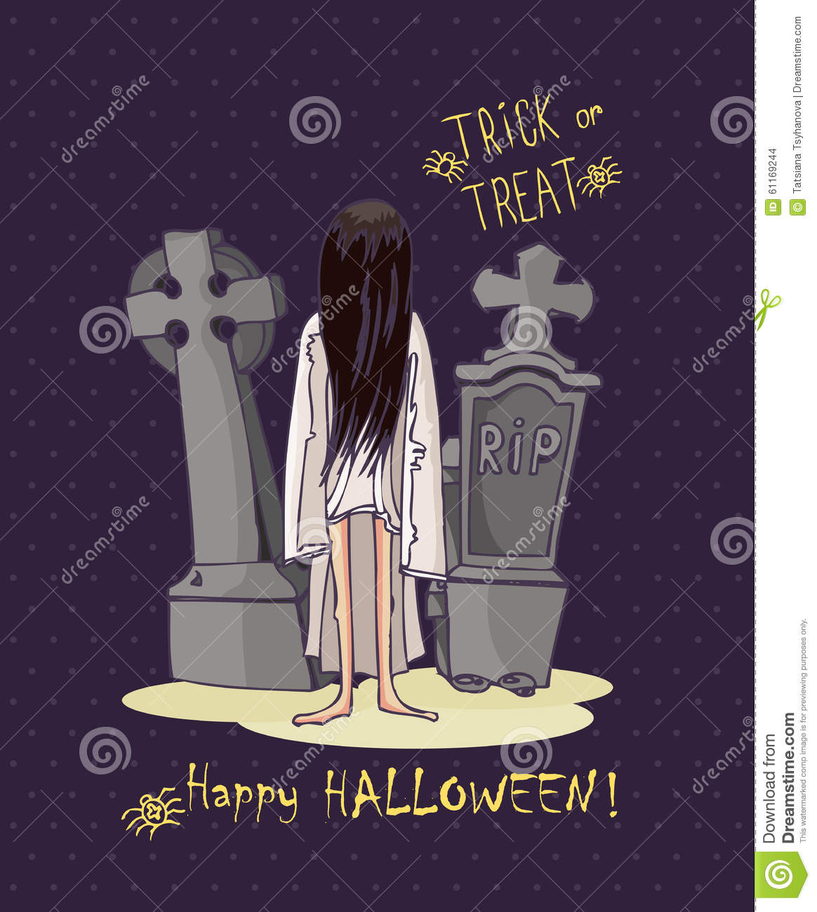 Happy Halloween Vector Invitation Card Tombs And Zombie