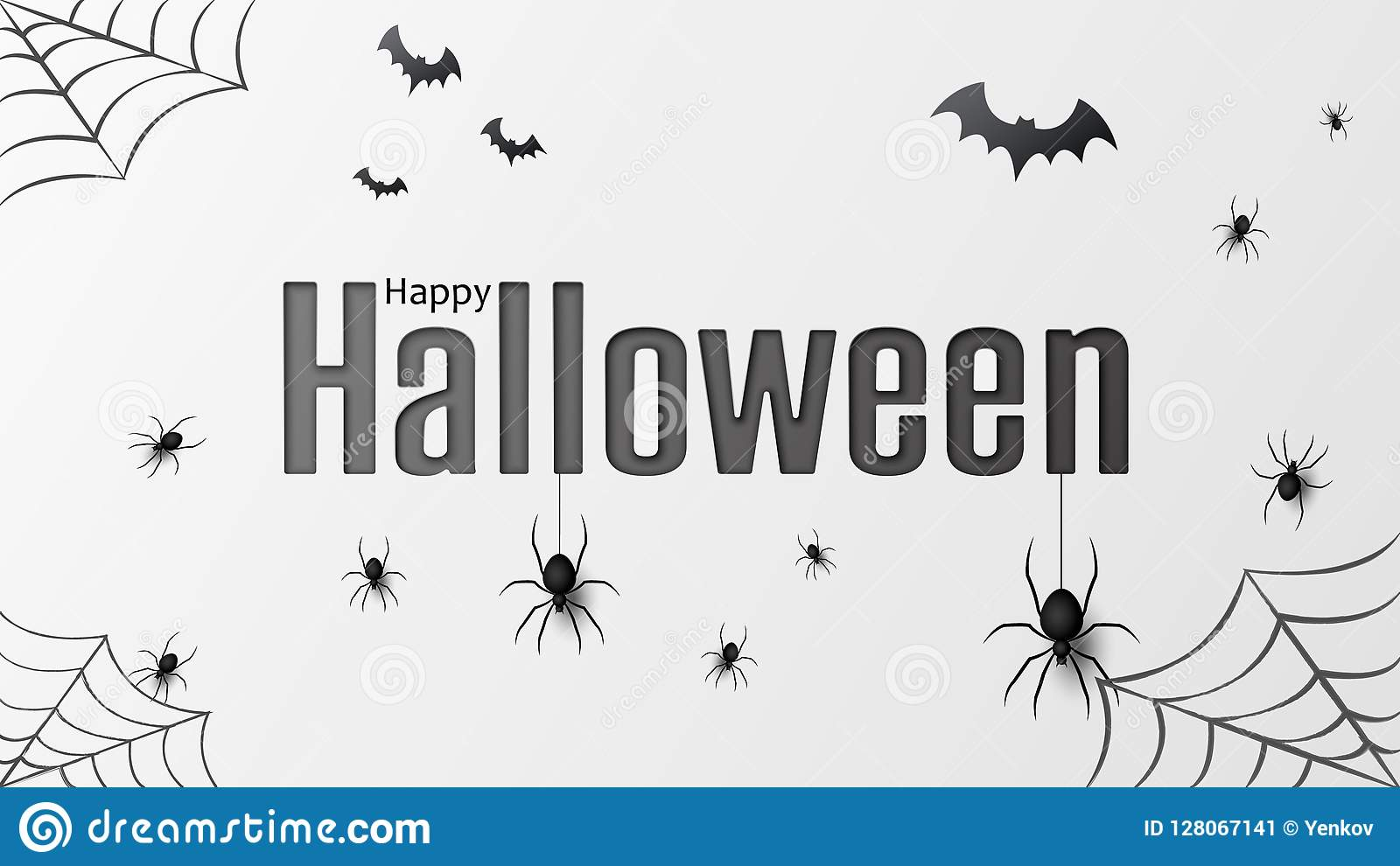 Happy halloween. Vector isolated pattern with hanging spiders and bats spider for banner, poster, greeting card. Vector
