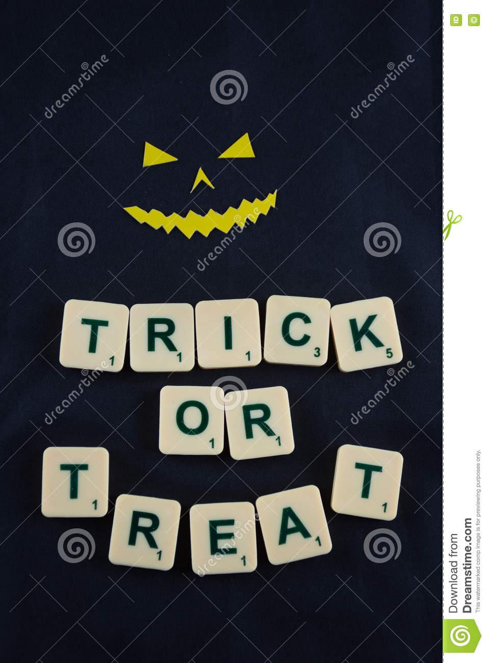 happy halloween wishes with demon face stock photo - image of