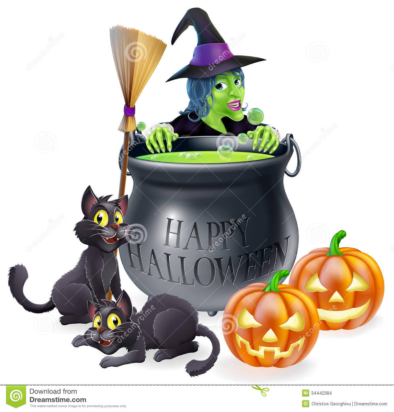 Happy Halloween Witch And Cauldron Stock Images - Image: 34442384