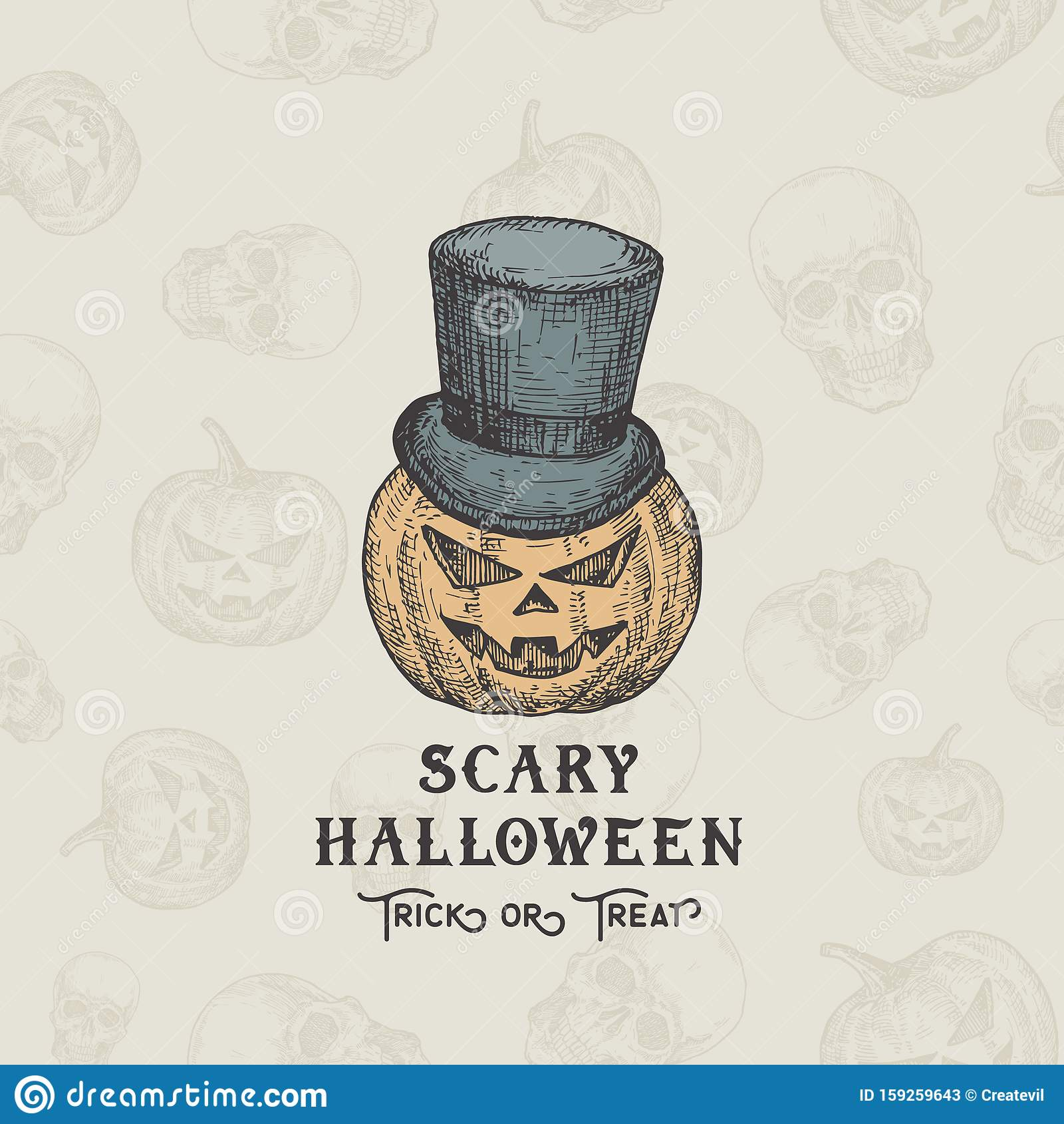 Happy HalloweenTrick or Treat Vector Background or Card Template. Hand Drawn Pumpkin Head in a Cylinder Hat Sketch
