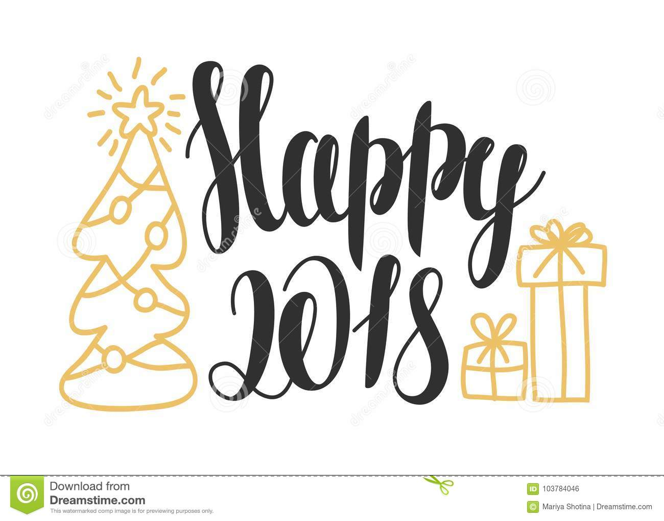 Happy 2018 - hand drawn design elements for greeting card. New year card design with lettering `Happy 2018`