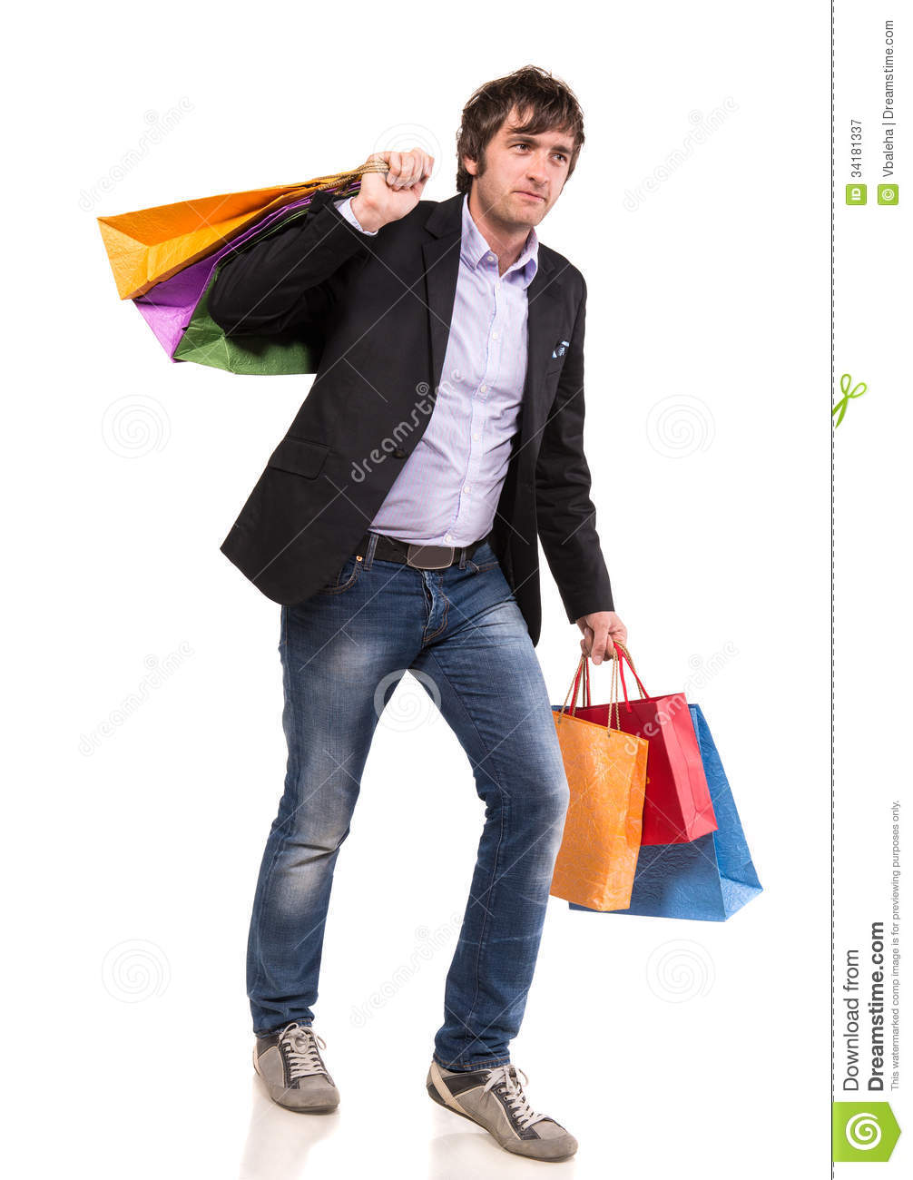 Happy Handsome Man With Shopping Bags Royalty Free Stock ...