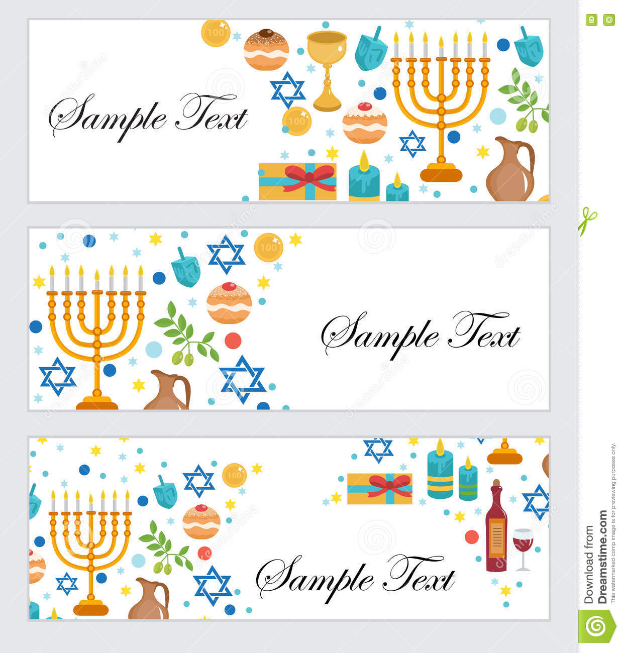 Happy Hanukkah, banners set. Hanukkah Jewish Festival of Lights, Feast of Dedication. Hanukkah set banners with space for text.