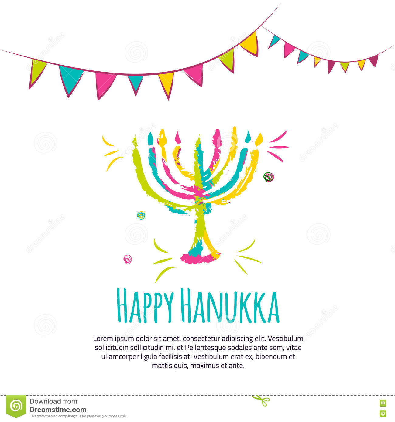 Happy Hanukkah colorful greeting card with hand drawn elements on white background.