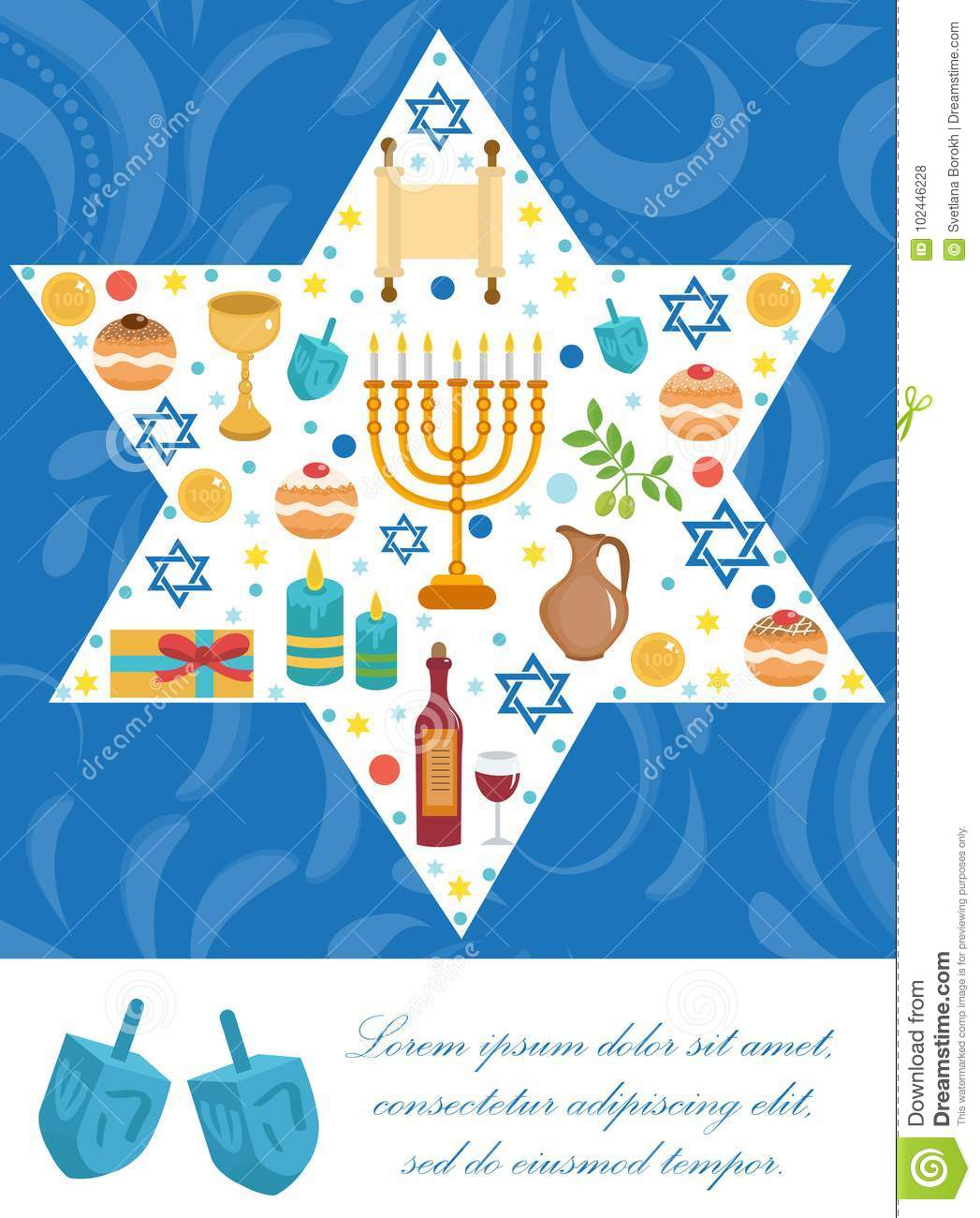 Happy Hanukkah greeting card, flyer, poster. Template for your invitation design. With menorah, sufganiyot, bunting
