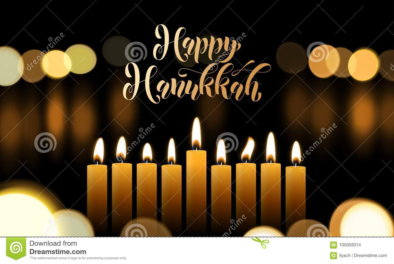 Happy Hanukkah greeting card of golden font and candles for Jewish lights festival holiday design template. Vector Chanukah or Han