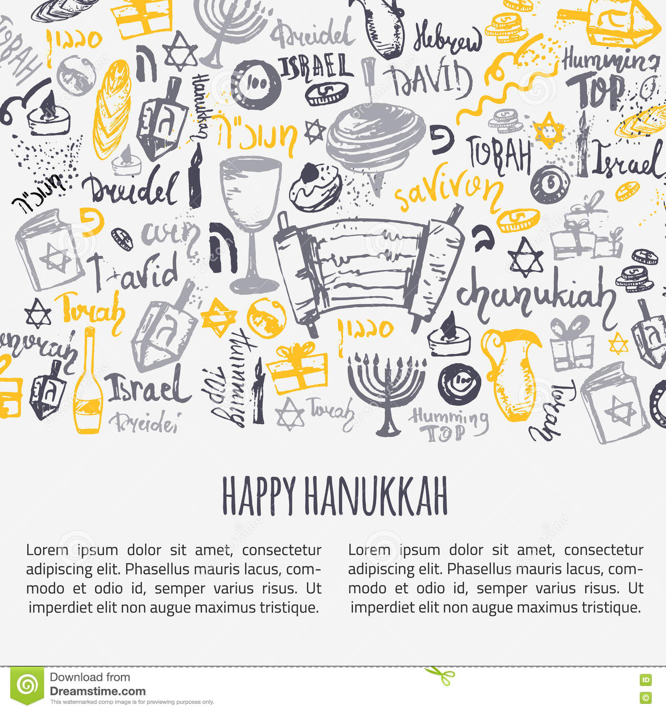 Happy hanukkah greeting card with hand drawn elements and lettering happy hanukkah greeting card with hand drawn elements and lettering menorah dreidel candle hebrew star for your design m4hsunfo