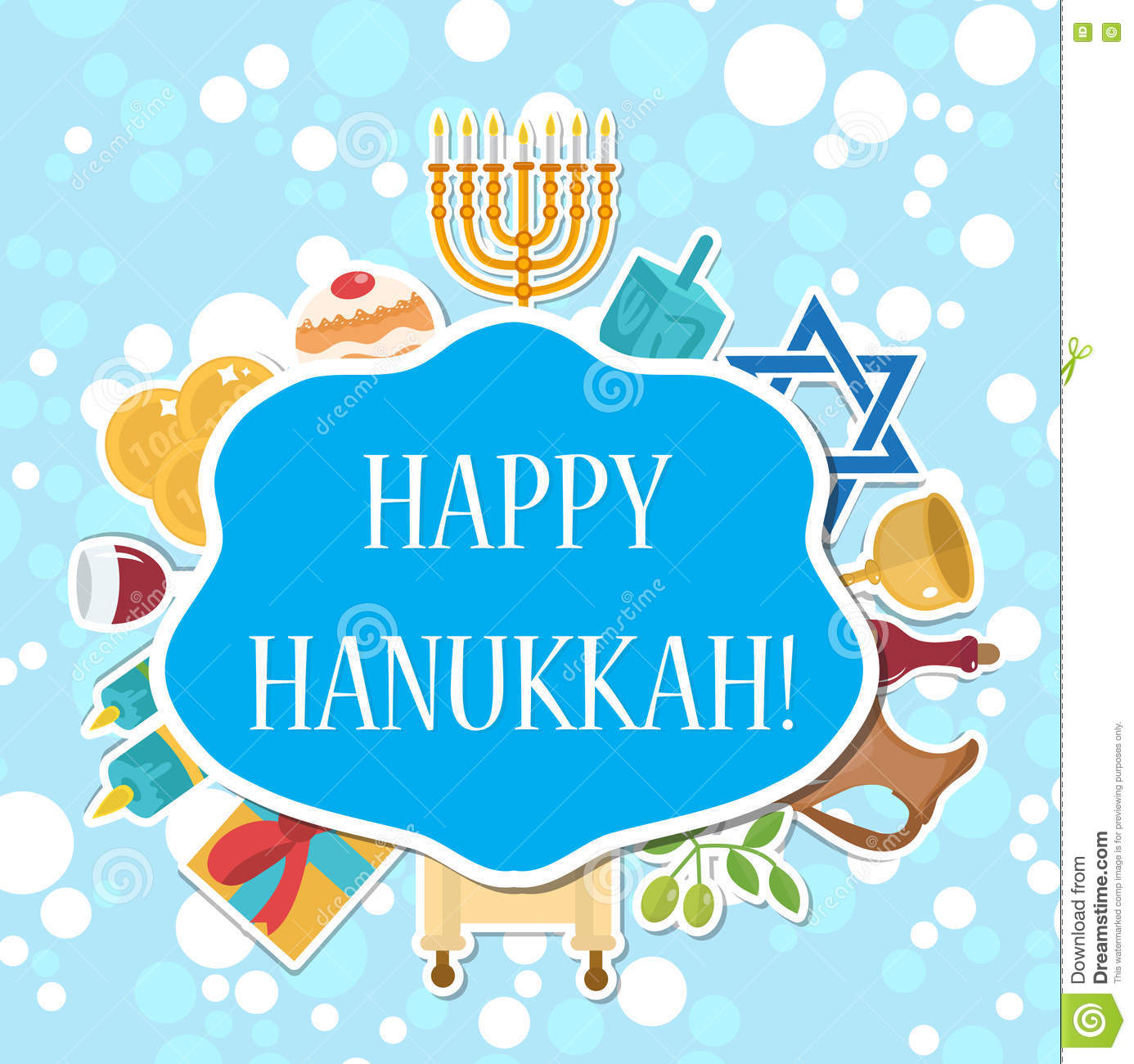 Happy Hanukkah greeting card, invitation, poster. Hanukkah Jewish Festival of Lights, Feast of Dedication. Hanukkah Greeting Card