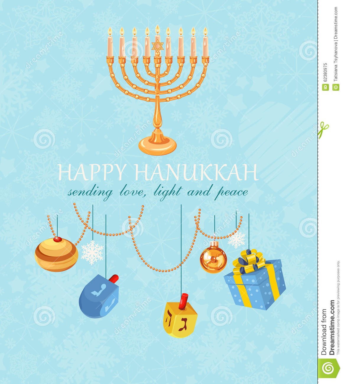 Happy hanukkah, jewish holiday. Hanukkah meora with colorful candles