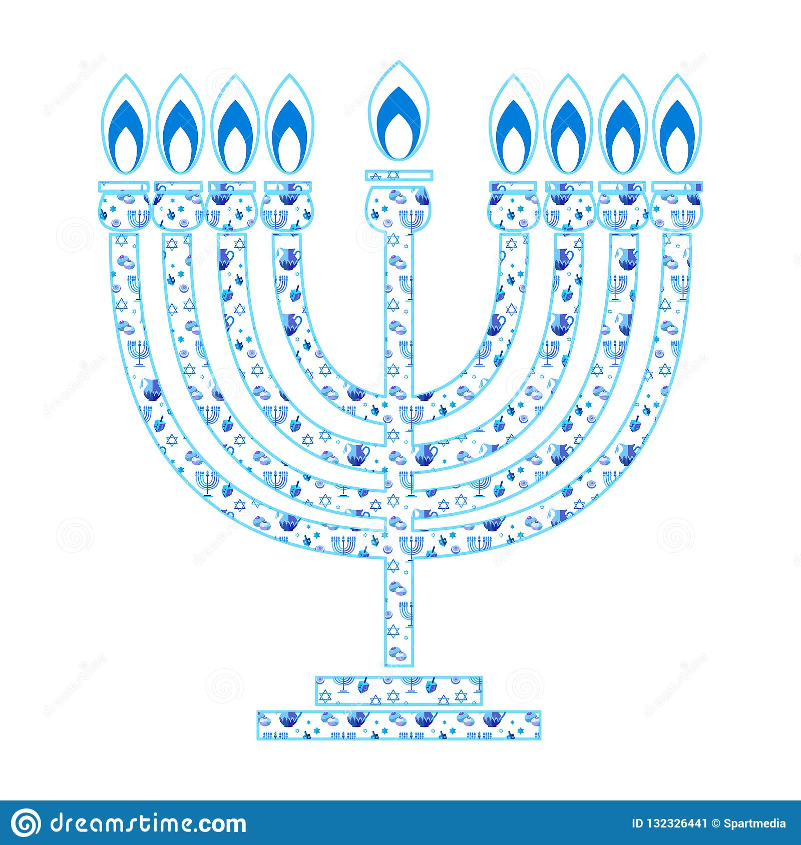 Happy Hanukkah Menorah Hebrew Blue Color Lettering Greeting Card