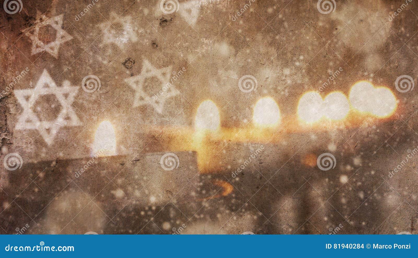 Happy Hanukkah.Menorah Snow