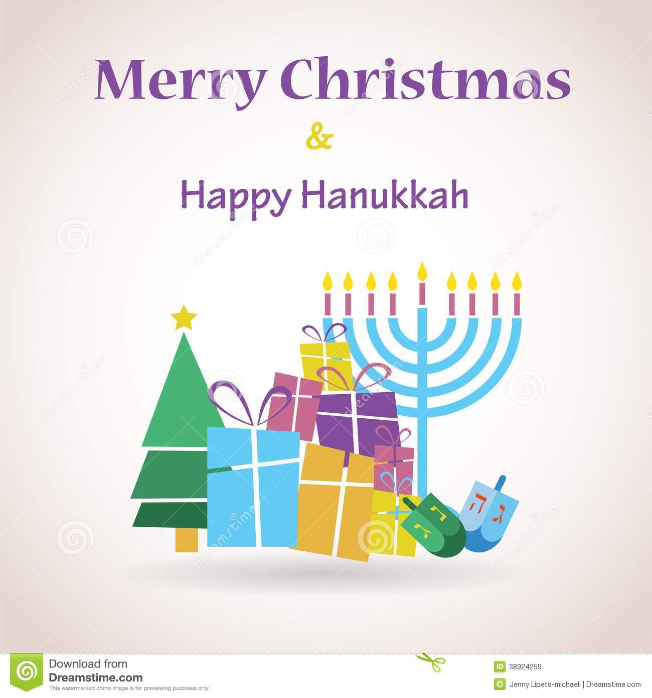 Happy Hanukkah And Merry Christmas Stock Illustration - Image ...