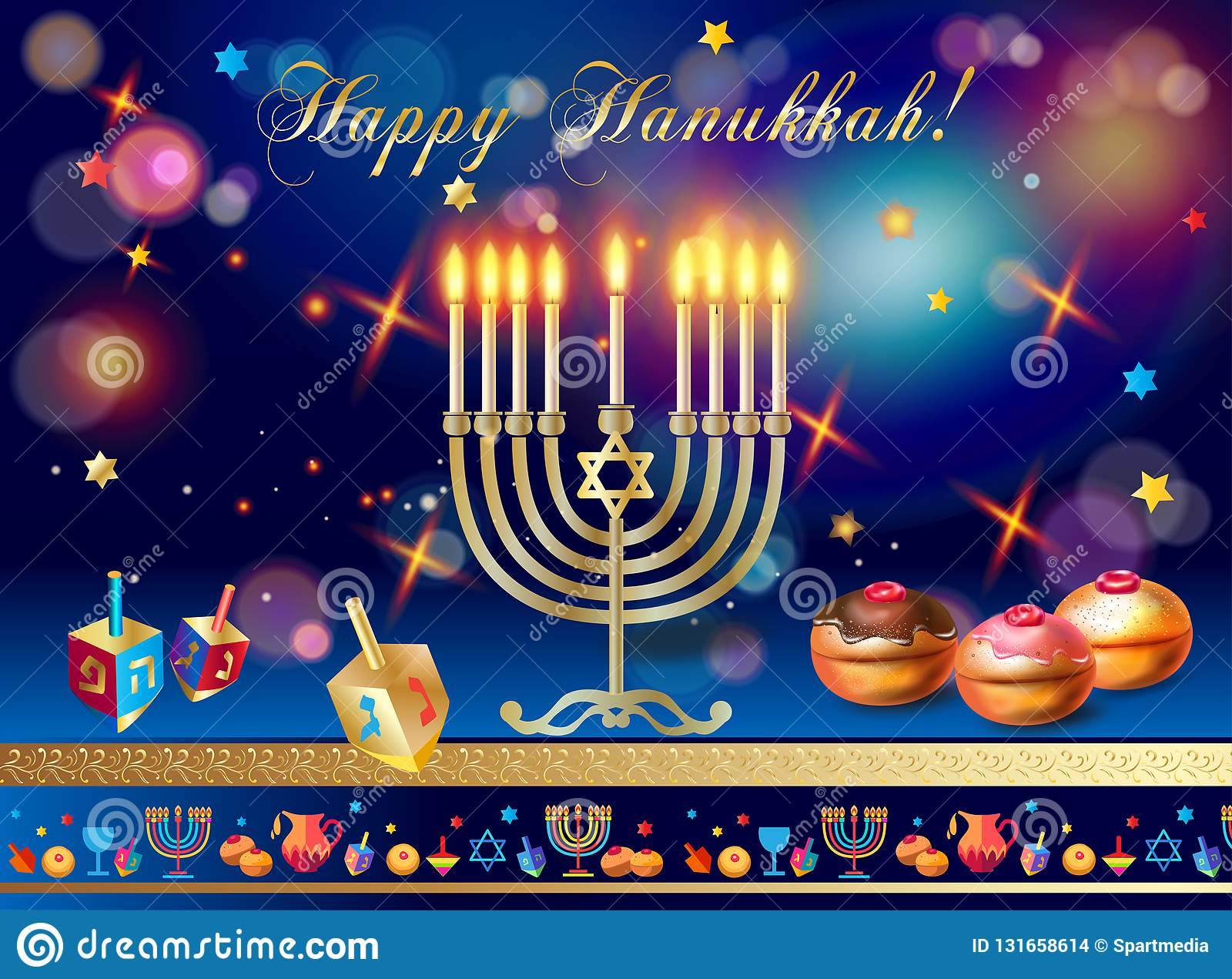 Happy Hanukkah Gold Menorah, Baked Donuts With Blueberry And Confetti  Chocolate Glaze, Wood Dreidel Stock Vector - Illustration of bokeh,  background: 131658614