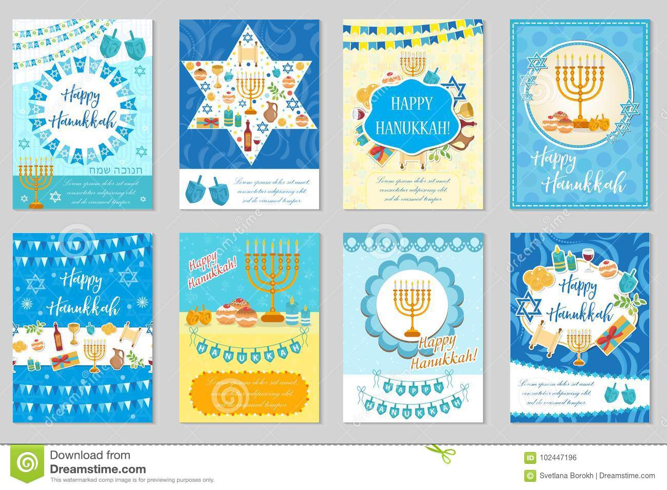 Happy Hanukkah set of greeting cards, flyer, poster. Hanukkah collection of templates for your invitation design. With