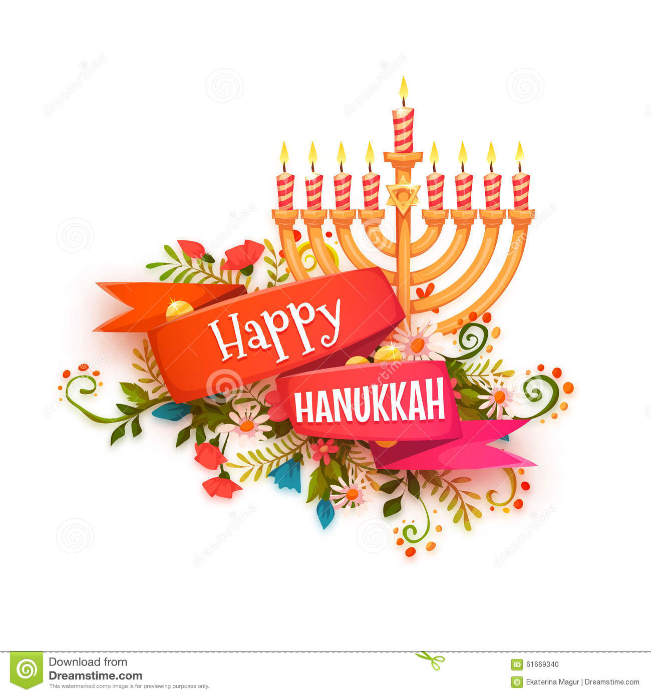 Happy Hanukkah. Vector Banner With Ribbon Stock Vector ...