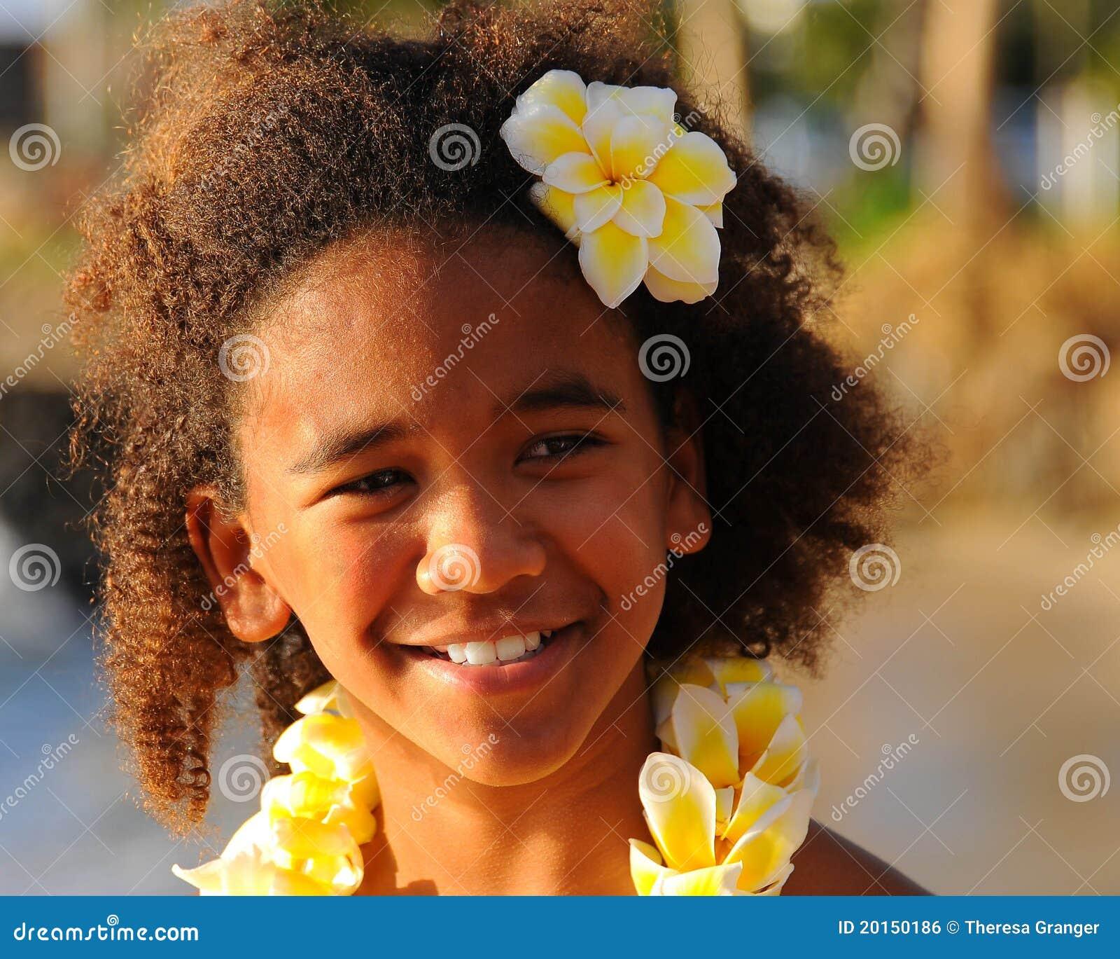 Happy hawaiian girl stock photo image of youthful flowers 20150186 izmirmasajfo Image collections