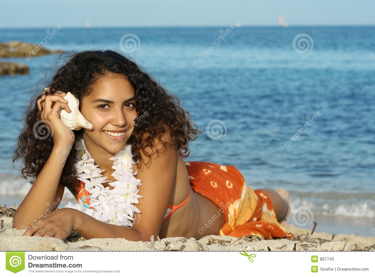 Happy Hawaiian Girl Stock Image Image Of Girl, Cute -4868