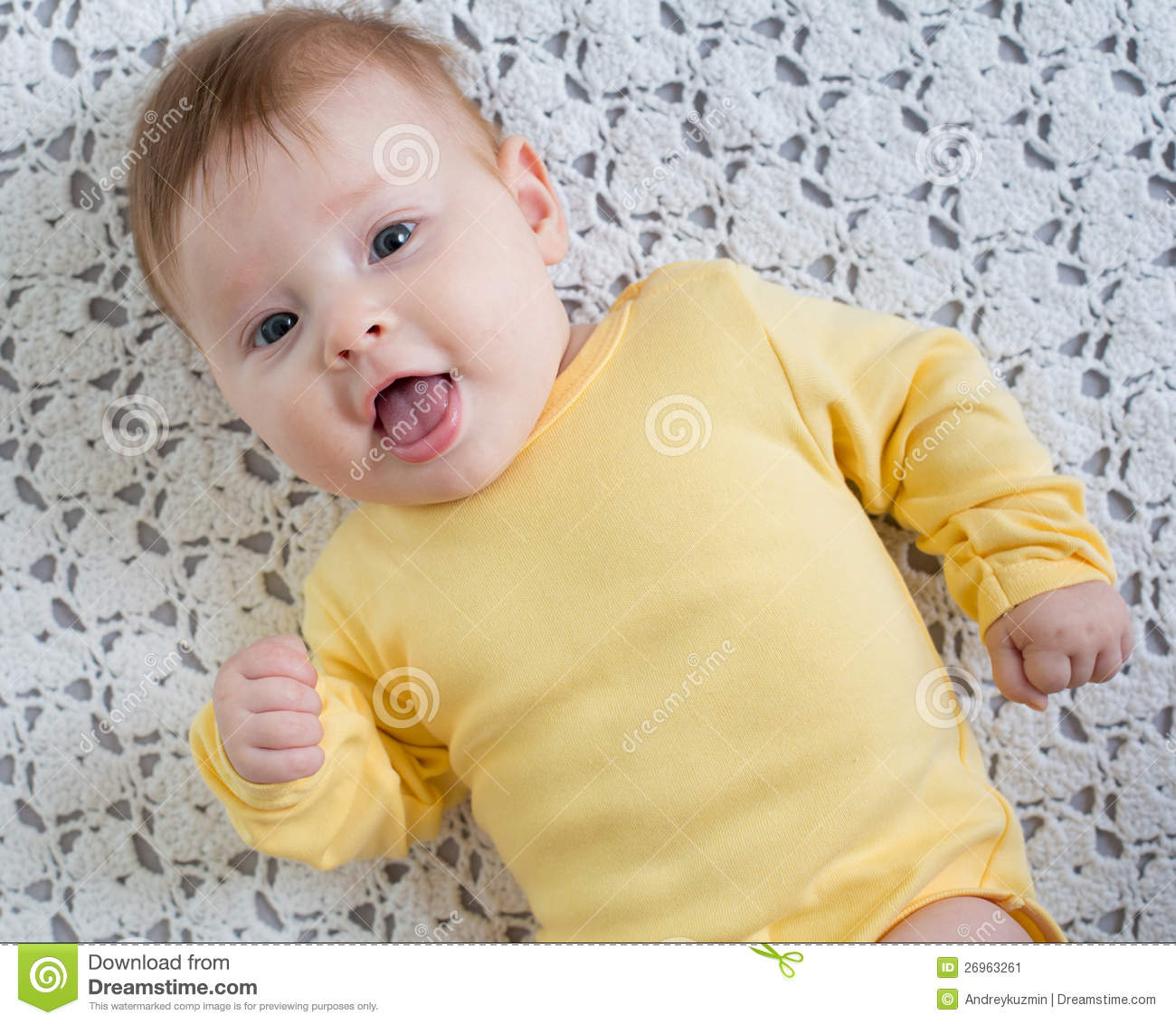 Happy And Healthy 4 Months Baby Girl Lying Stock Image Image Of