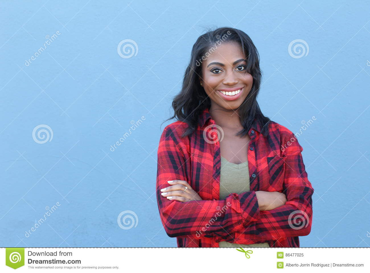 Download Happy Healthy African Woman Smiling With Her Arms Crossed Stock Image - Image of confidence, emotion: 86477025