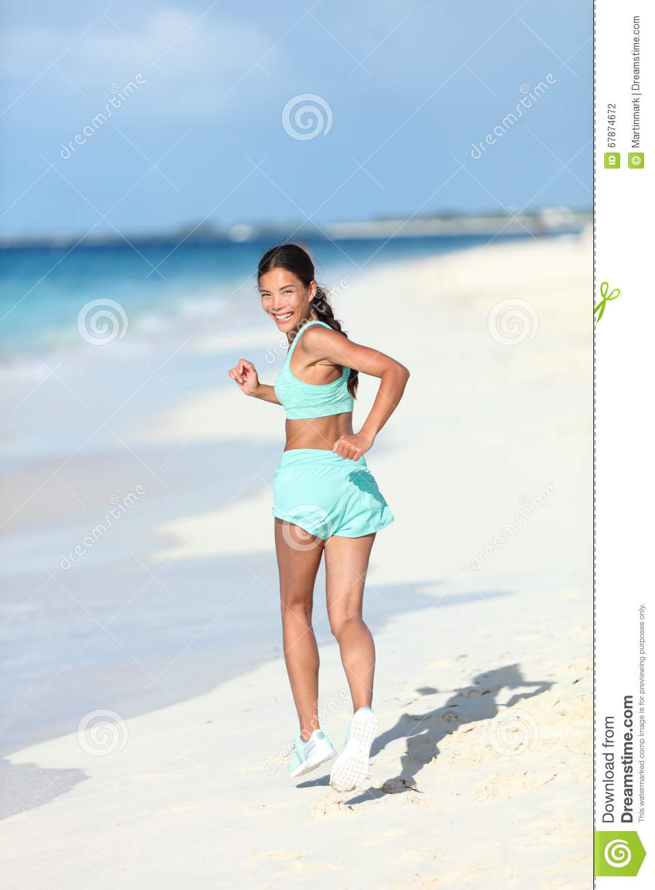 Happy Healthy Lifestyle Woman Runner Looking Back Running On