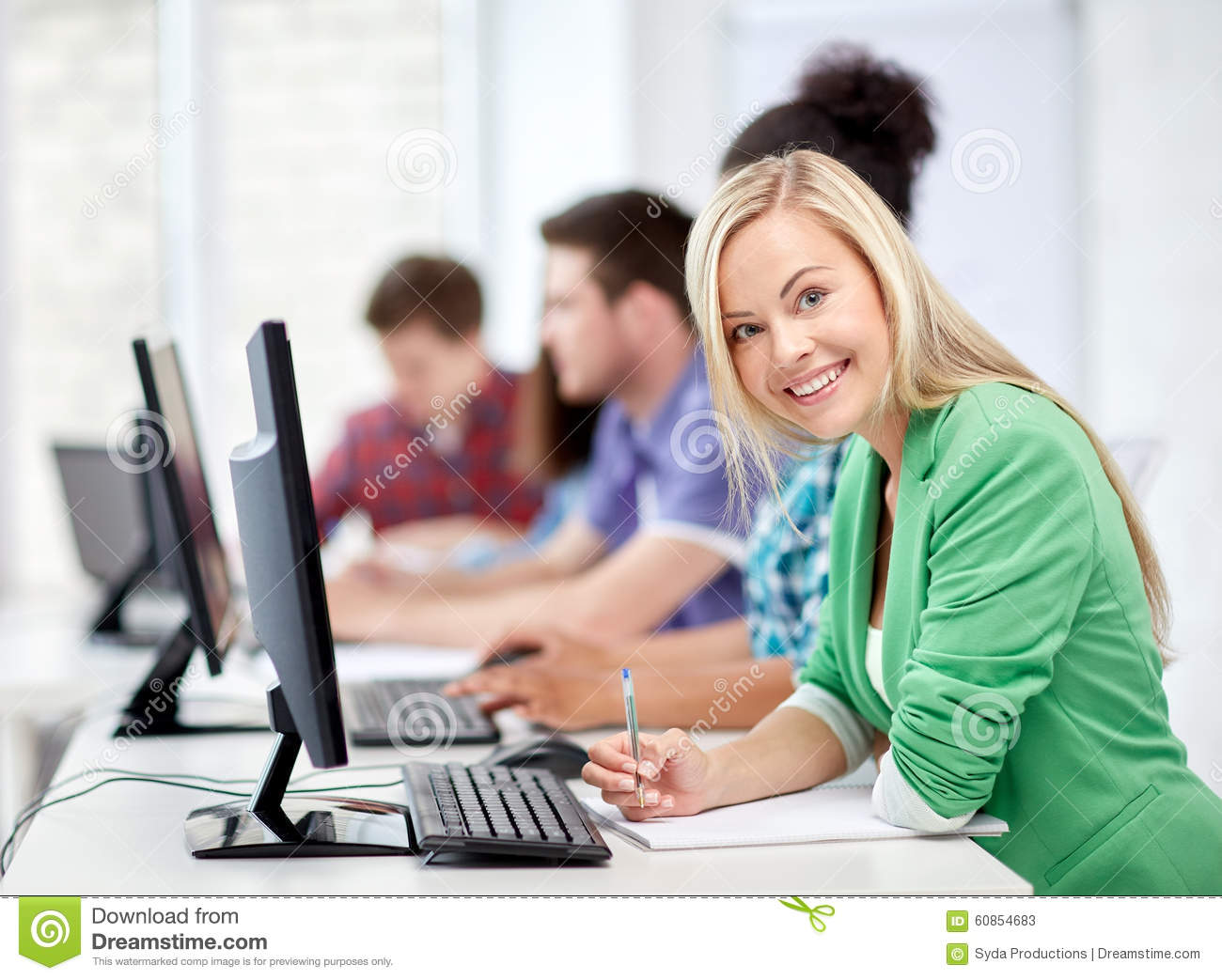 Happy High School Students In Computer Class Stock Photo ... Happy High School Student Clipart
