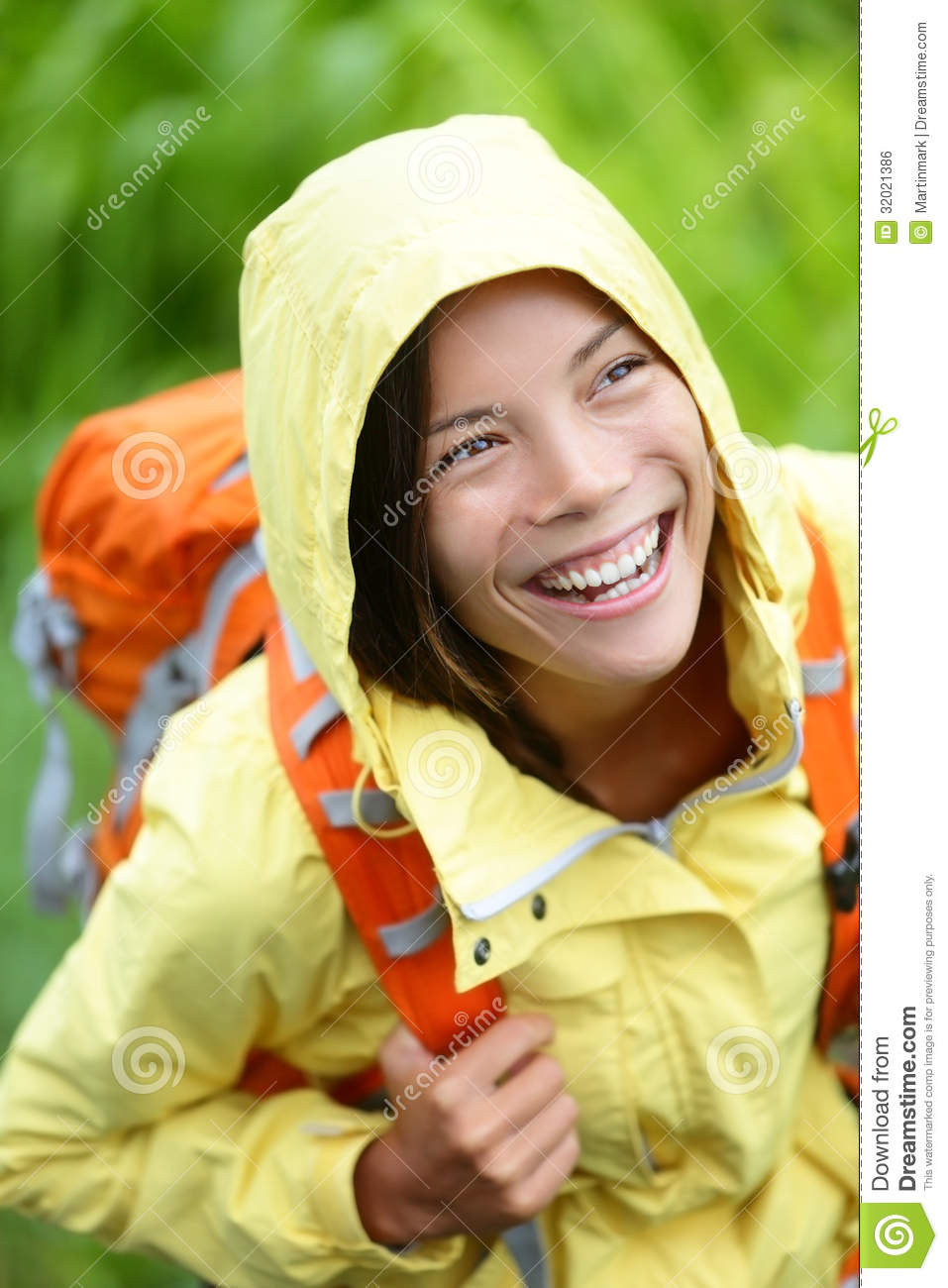 Happy Hiker Woman Hiking In Rain With Backpack Stock Photo Image 32021386