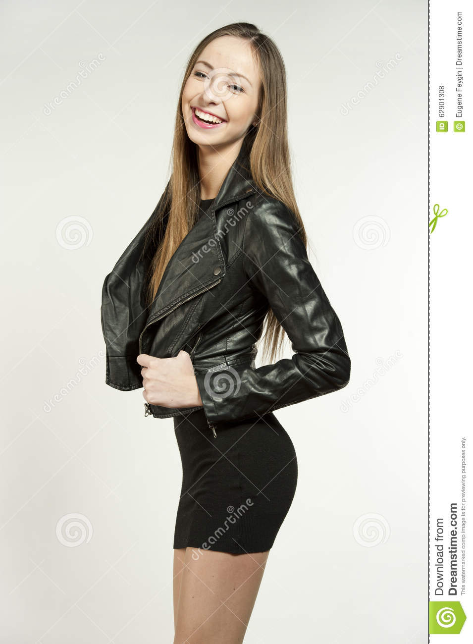 Young Girl Models Nn: Happy Hip Young Girl In Leather Stock Photo