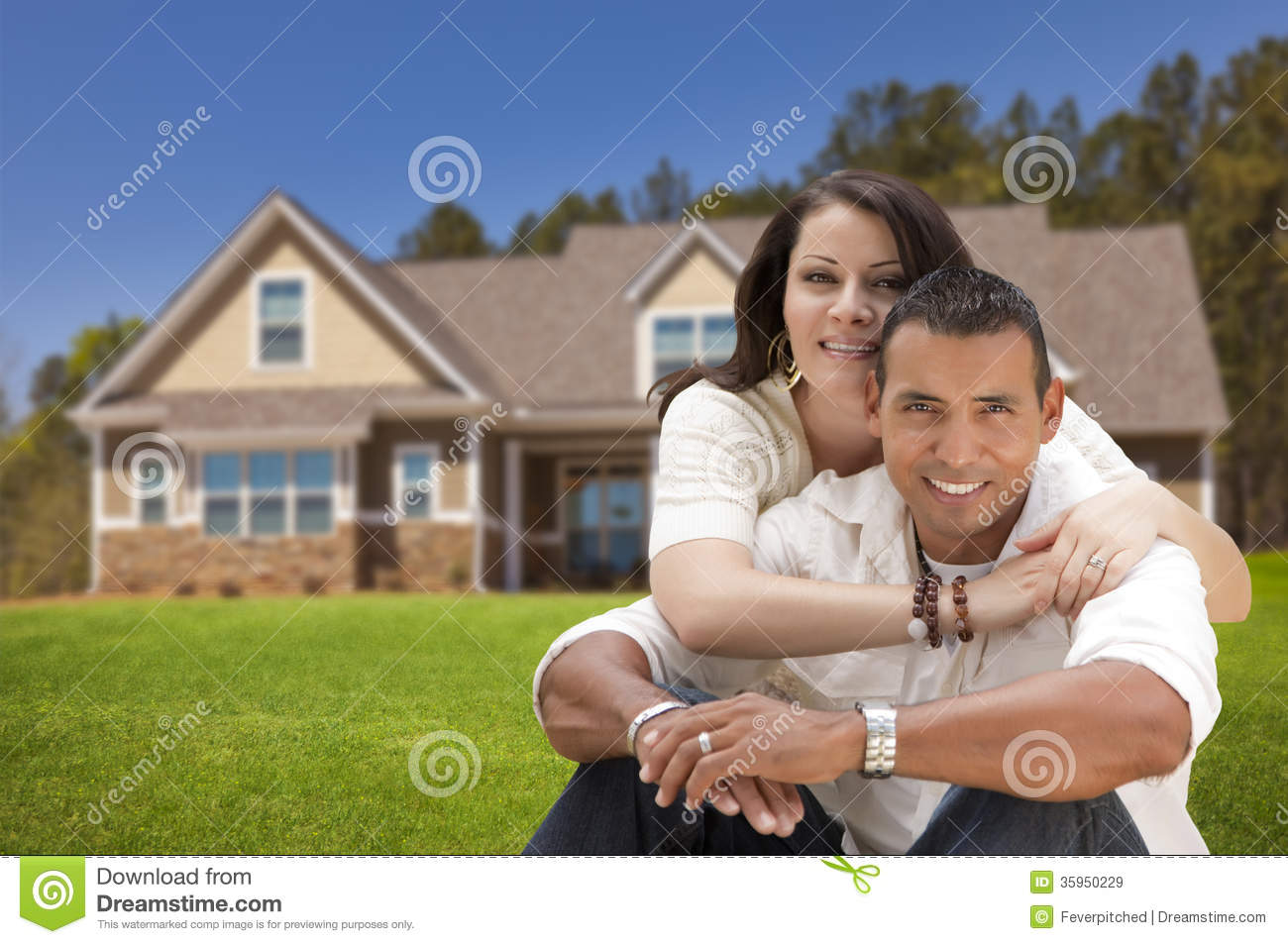 Happy hispanic young couple in front of their new home royalty free stock images image 35950229 - Young couple modern homes ...