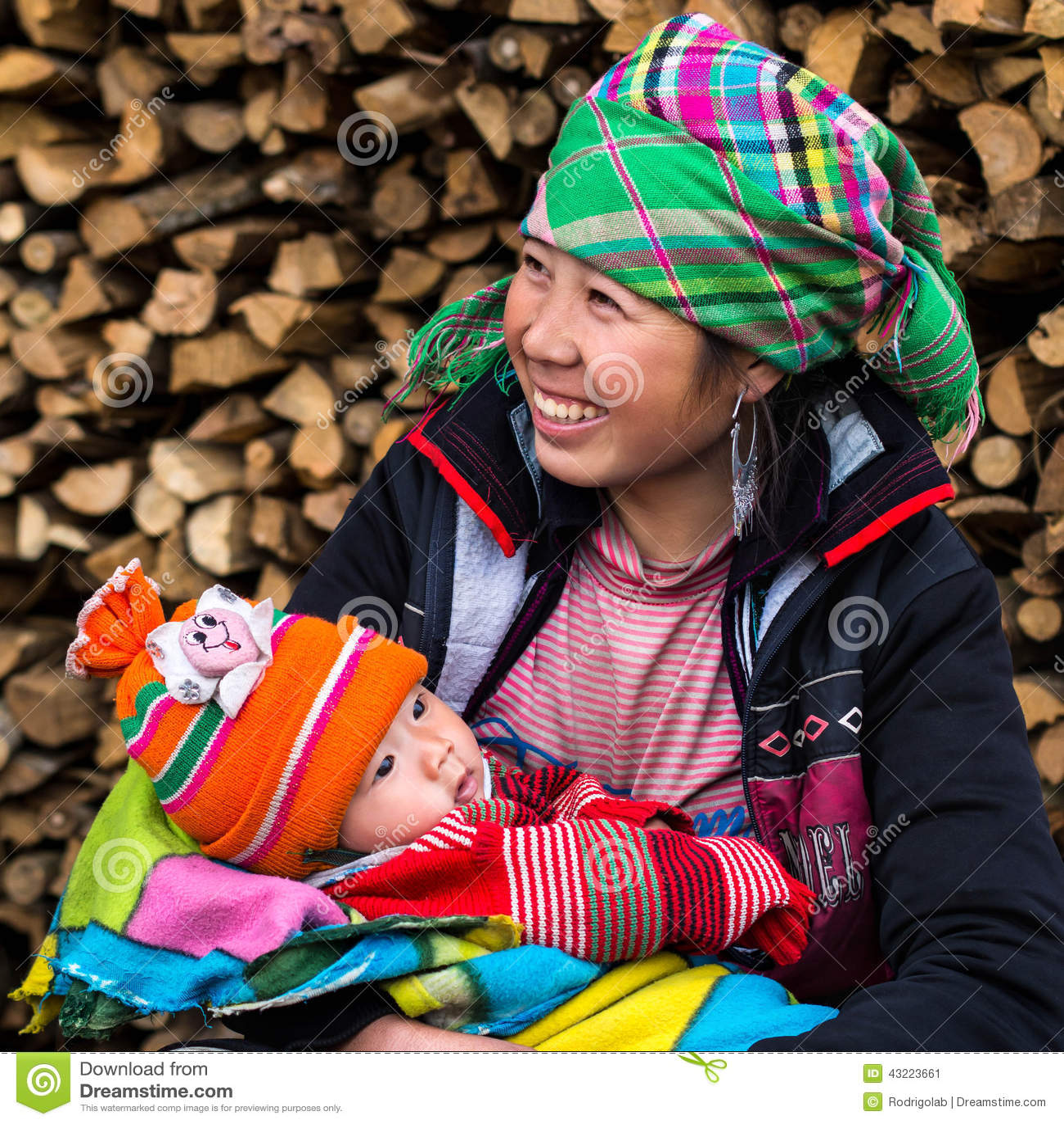 Happy Hmong Woman With Baby Sapa Vietnam Editorial Photo