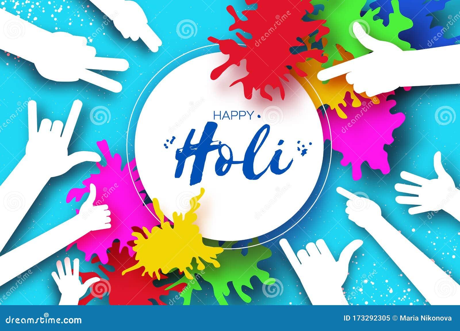 Happy Holi Festival Of Colors People Hands Colorful Splash Paint
